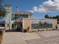 The community center and a mural.
