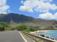 View of the northern end of Makua Beach, from the road.