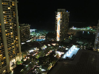 View of the Rainbow Tower from the Kalia Tower at night.