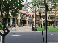 Waikiki Beach Walk, a shopping center on the west end of Kalakaua Ave.