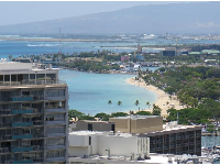 View of Ala Moana Beach from the Kalia Tower at Hilton Hawaiian Village.