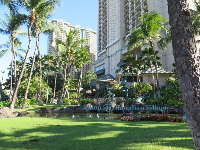 Lawn and sign on the Ala Moana Blvd side of the hotel.