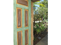 Sea-green door.