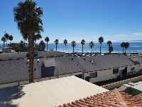 View of the sea and palm trees from the 4th floor.