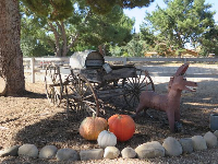 Donkey carving and wagon at the exit.