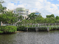 View of the circular buildings and bridge, from the dock.