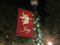 Joy flag at Christmastime on Main Street.