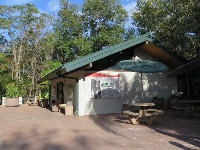 Picnic table and restrooms.