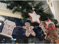 Gingerbread men strung along the ceiling.