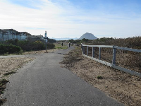 The bike path, with Morro Rock in the distance.