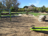 Roller slide, boulder to climb, swings, and play house, with cute mountain behind.