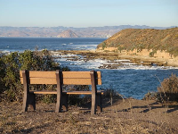 Bench with view of Morro Rock.
