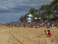 Sandcastle on the beach at the Pipeline Masters surf contest