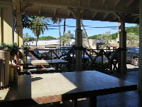 I love the outdoor seating at Kua Aina Burger.