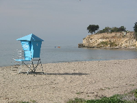 I love the blue California lifeguard shacks!