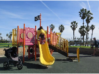 Pirate playground with yellow slide.