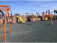 The playground area is large.