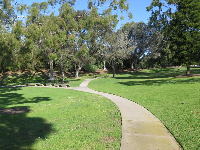 Pathway at the lawn on the lagoon by Campus Point Beach.