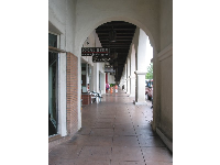 Walking the historic Spanish-style arcade...