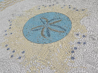 Starfish design in the tiles on the sidewalk along Cabrillo Blvd.