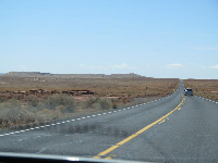 Driving up to the meteor crater.