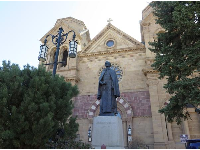 Statue of Archbishop Lamy, in front of the cathedral.