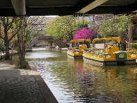Yellow boats on the canal.