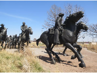 Amazing moments of action in the Centennial Land Run Sculpture.