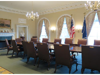 Recreation of the Cabinet Room in the White House, where presidents make tough decisions.