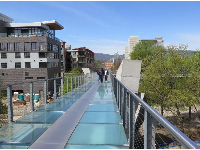 The glass pedestrian bridge is beautiful and unusual!