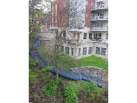 Blue staircase that is part of Riverwalk.