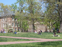 Students sitting on the quad.