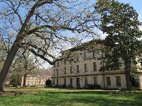 Building and lawn on campus.