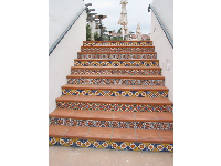 Colorful stairways abound...