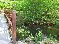Bridge to Bolin Creek Greenway, and the creek.