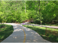 The path that leads to Bolin Creek Greenway, in Umstead Park.