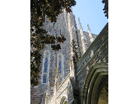 Looking up at Duke Chapel.