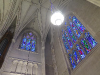 Blue stained glass inside Duke Chapel.