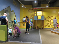 Rock-climbing wall for little ones, and roll the ball down the zig zag.