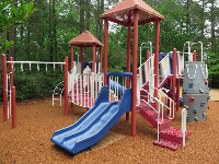 Playground with monkey bars and rock climbing.