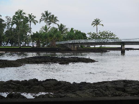 The pedestrian bridge that leads to Coconut Island.