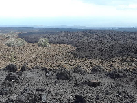 Scenic lookout along Highway 11 where you can see lava flows from different decades.