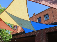 Shade canopies at Weaver Street Market.