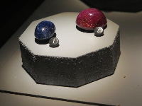 49 carat blue sapphire, 103 carat ruby with six point star.