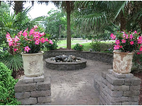 Flower pots and fire pit.