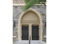 Doorway to First Presbyterian Church.