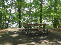 Picnic tables at the water.