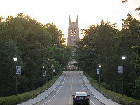 Driving up to Duke Chapel at night.