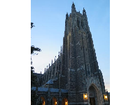 Looking up at the amazing Duke Chapel at night.