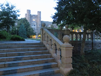 Staircase and castle building in the distance.